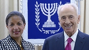 President Peres meets with US national security advisor Rice Photo: Mark Neiman, GPO