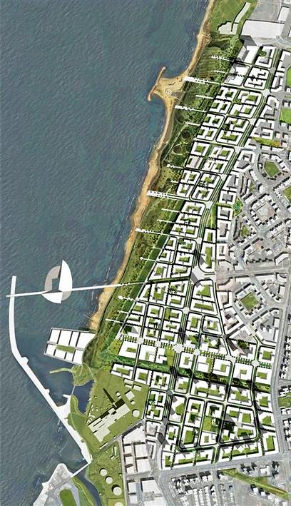 The planned layout for the new neighborhood in North Tel Aviv. (Representation: Architect Ari Cohen) (Representation: Architect Ari Cohen)