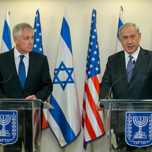 Hagel and Netanyahu in Jerusalem (Photo: Ohad Zwigenberg)