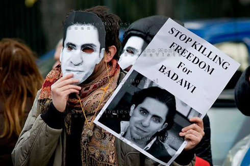 The sentence sparked angry reactions around the world. Protest for the release of the Saudi blogger (Photo: Reuters)