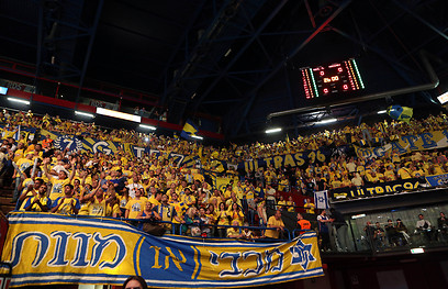 Maccabi Tel Aviv fans in the stands at the Euroleague Final (Photo: Oz Mualem)