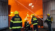 Firefighters at the storage facility Photo: Ayalon Fire Department