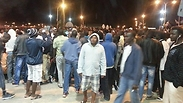Asylum seekers protest at Holot Photo: Anwar
