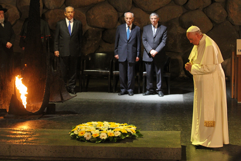Pope Francis at Yad Vashem (Photo; Ido Erez)