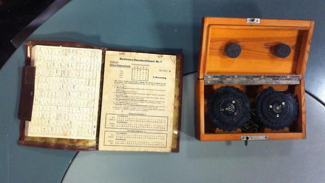 The Enigma machine and its instructions. (Photo: Einat Alfasa) (Photo: Einat Alfasa)