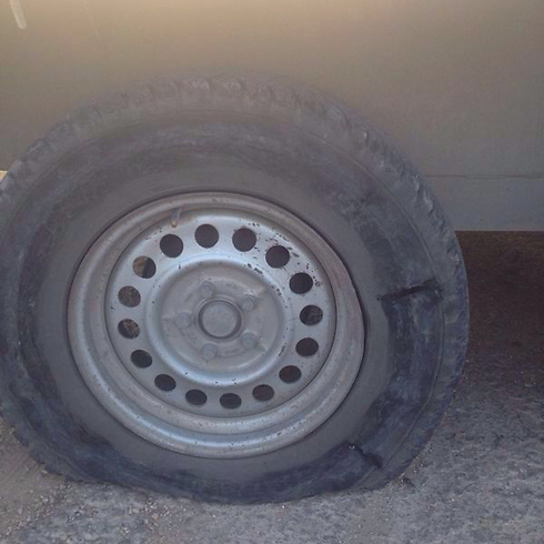 Slashed tires in Yitzhar.