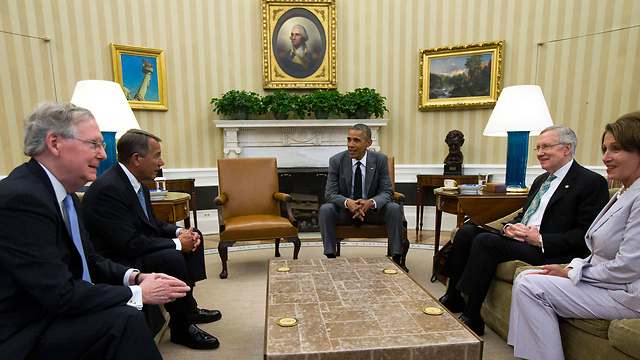 US President Obama with Congressional leaders (Photo: Reuters)