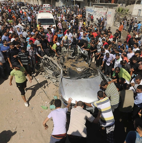 The car hit by the IAF (Photo: Reuters)