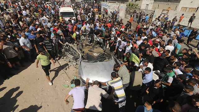 A car targeted by the IAF earlier Friday. (Photo: Reuters)