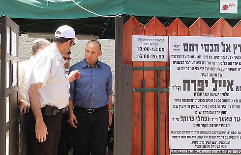 Economy Minister Naftali Bennett visiting the family of Eyal Yifrach, an Israel teen who was recently kidnapped and murdered. (Photo: Ido Erez) (Photo: Ido Erez)