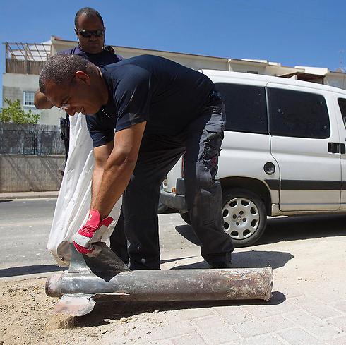Rocket in Sderot (Photo: Reuters)