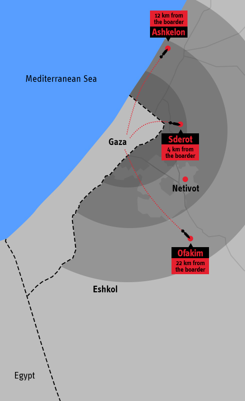 Map of Gaza rockets' range