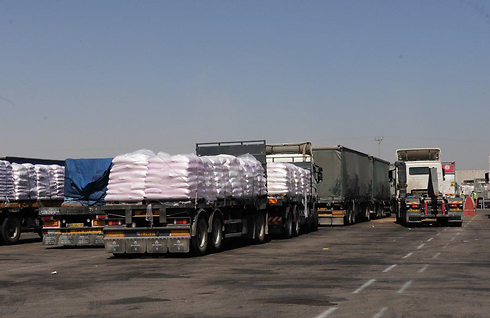 Humanitarian goods at Israel's Kerem Shalom crossing into Gaza (Photo: Herzl Yosef)