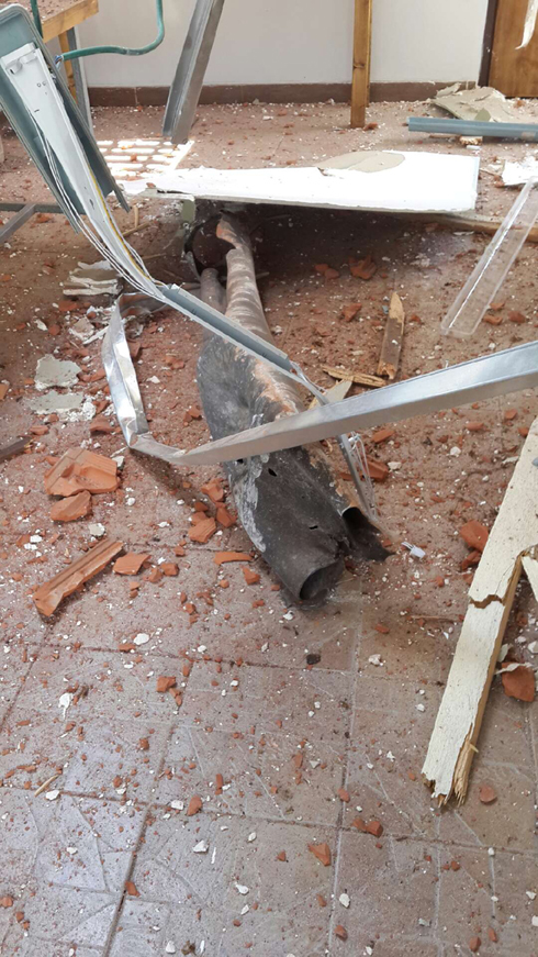 The shrapnel that hit the Tel Aviv synagogue.