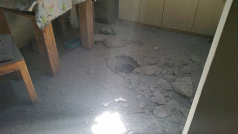 The house in Eshkol that suffered a direct hit (Photo courtesy of the Eshkol Regional Council spokesman)