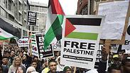 Demonstrators protest against action taken by Israel in Gaza near Israeli embassy in Londo Photo: Reuters