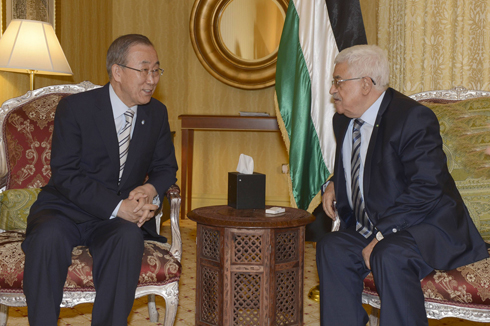 UN Secretary-General Ban Ki-moon and PA President Mahmoud Abbas (Photo: AFP)