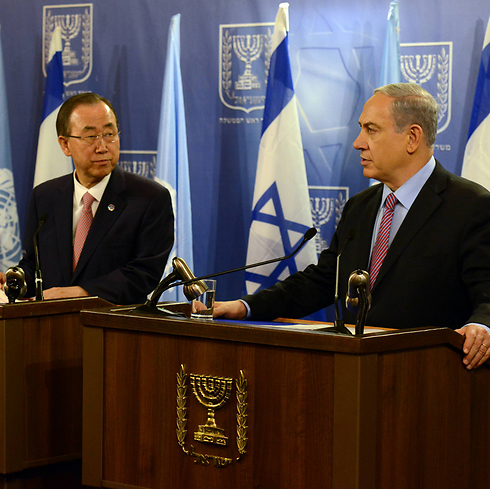 Prime Minister Benjamin Netanyahu and UN Secretary General Ban Ki-moon (Photo: Haim Zach, GPO)