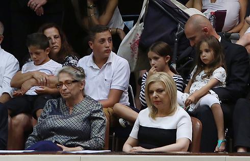 Nechama Rivlin (L), Reuven Rivlin's wife next to the Prime Minister's wife, Sara Netanyahu (Photo: Gil Yohanan) Photo: Gil Yohanan