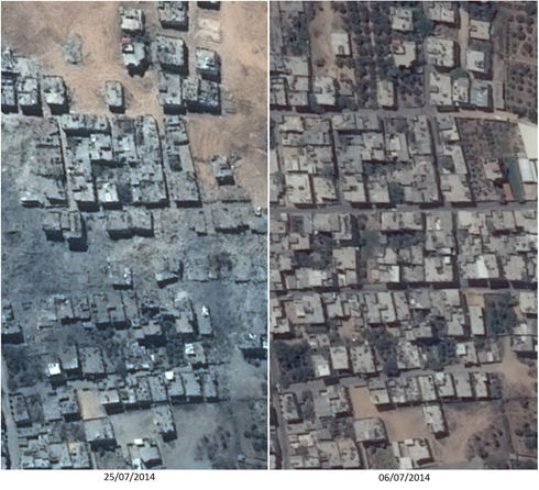 Before and after: Sajaiyeh neighborhood of Gaza (Photo: Ronen Solomon)