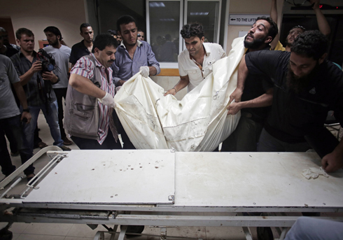 The morgue at Shifa Hospital during Operation Protective Edge. (Photo: AP) (Photo: AP)