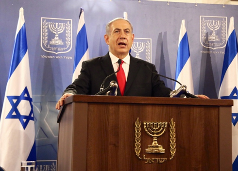 Netanyahu speaking at the Kirya army headquarters (Photo: Dana Kopel)