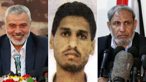 Hamas leadership: (L) Ismail Haniyeh, (C) Mohammed Deif, (R) Mahmoud al- Zahar (Photo: AFP, Reuters)