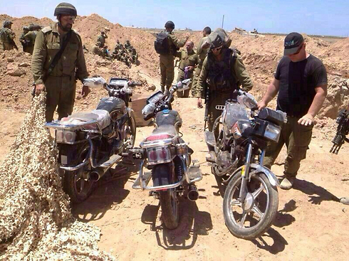 Motorcycles found inside a Gaza tunnel during Protective Edge