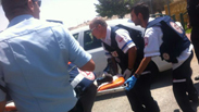 Security guard evacuated by MDA paramedics Photo: Magen David Adom