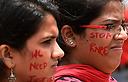 הפגנה בהודו נגד אלימות (צילום: AFP)
