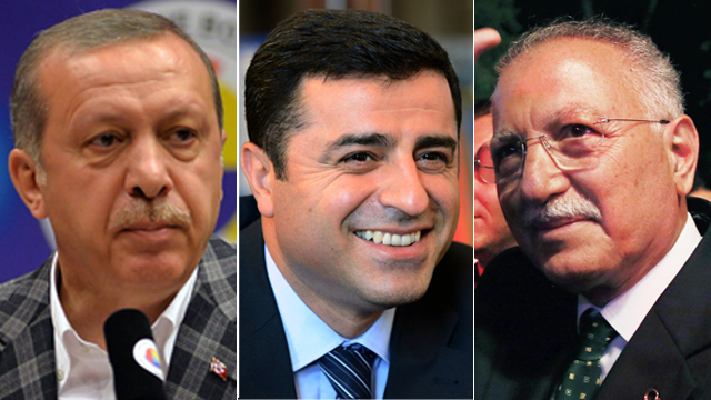 Erdogan (L), Demirtas, Ihsanoglu (R) (Photo: AP)