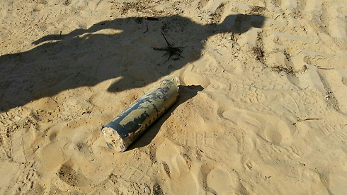 A rocket that fell near a town in the Eshkol Regional Council as fire from Gaza continued Saturday. (Photo: Eshkol Regional Council Spokesperson)