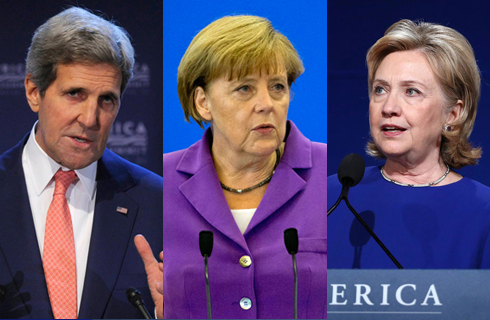 John Kerry, Angela Merkel, and Hillary Clinton