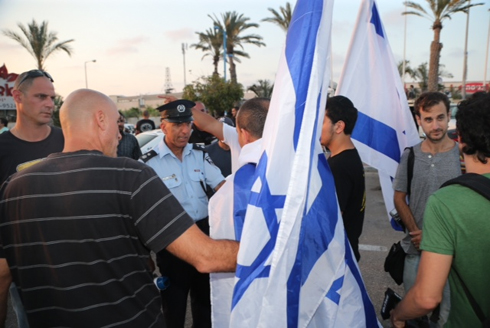 Protest outside wedding of Mahmoud Mansour and Morel Malcha (Photo: Moti Kimchi)