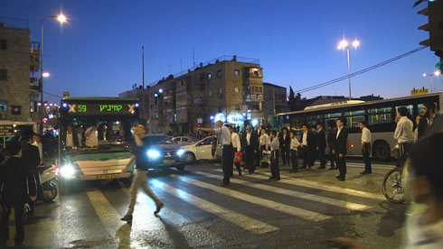 Haredi protest at Bar Ilan St. in Jerusalem (Photo: Eli Mendelbaum)