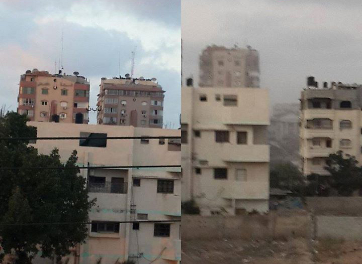 The building that was attacked - before (left) and after.