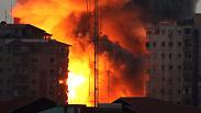 IAF strike levels multi-story building Photo: EPA