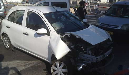 Damage caused to car from rocket shrapnel in Sderot.