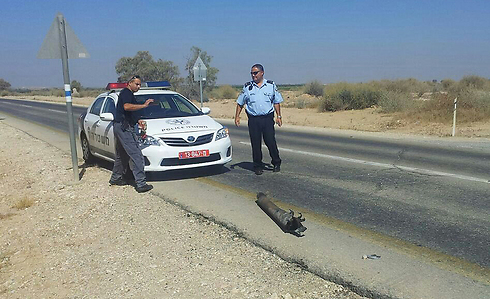 Rocket by side of road in south (PhotoL: Tzvi Epshtien)