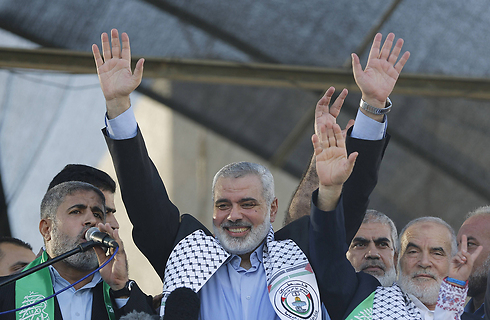 Hamas leader Ismail Haniyeh at Gaza 'victory' rally (Photo: AFP)