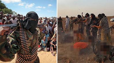 מימין אנשי דאעש, משמאל אל-קאעידה בסומליה (צילום: AP)