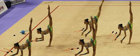 Israeli team at Rhythmic Gymnastics Championships (Photo: EPA)