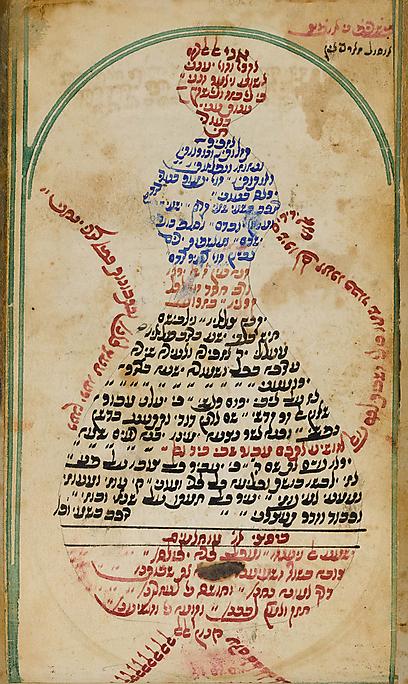 חיים ישראל מאיר מזרחי כתב במיקרוגרפיה פיוטים בצורה של קומקומים (צילום: אוסף משפחת גרוס, תל אביב)