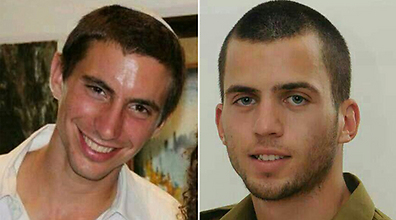 Oron Shaul (right), one of the missing soldiers, and Hadar Goldin.