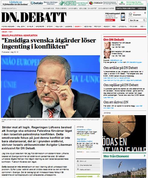 Lieberman's article in a Swedish newspaper.