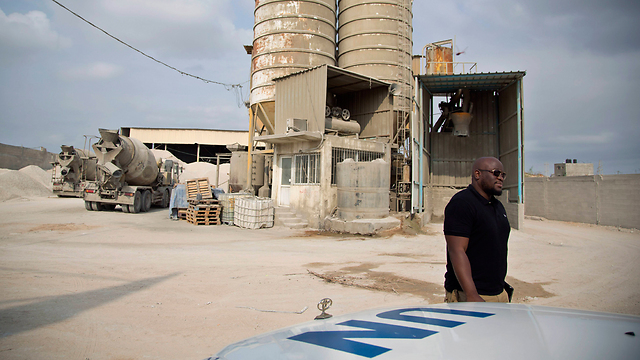 UN supervisors at Gaza concrete factory (Photo: AP)