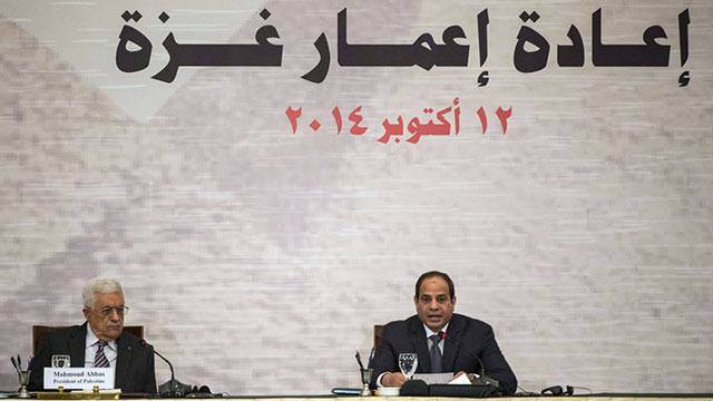 Abbas and Sisi at donor conference in Cairo (Photo: AFP)