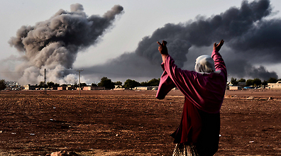 הקרבות בקובאני (צילום ארכיון: AFP)