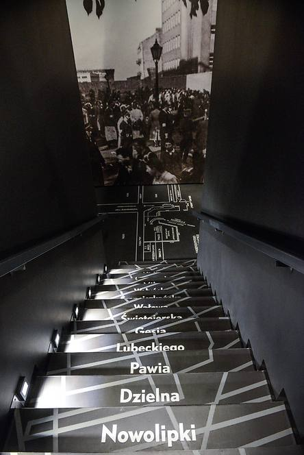 A stair with written streets of Jewish Quarter is displayed at 'The Street' gallery as part of the core exhibition of the Museum of the History of Polish Jews (Photo: EPA)