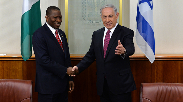Prime Minister Netanyahu and Nigerian President Goodluck Jonathan. (Photo: Kobi Gideon/GPO)